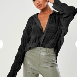 Missguided NWT Black Crinkle Shirt